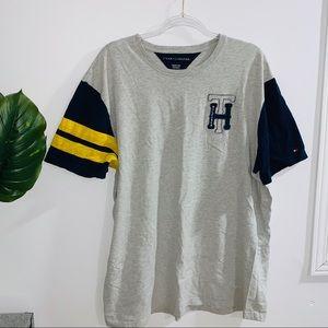 Tommy Hilfiger Men's Gray & Blue Short Sleeve